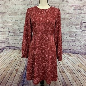 Loft Maroon Paisley Shift Dress